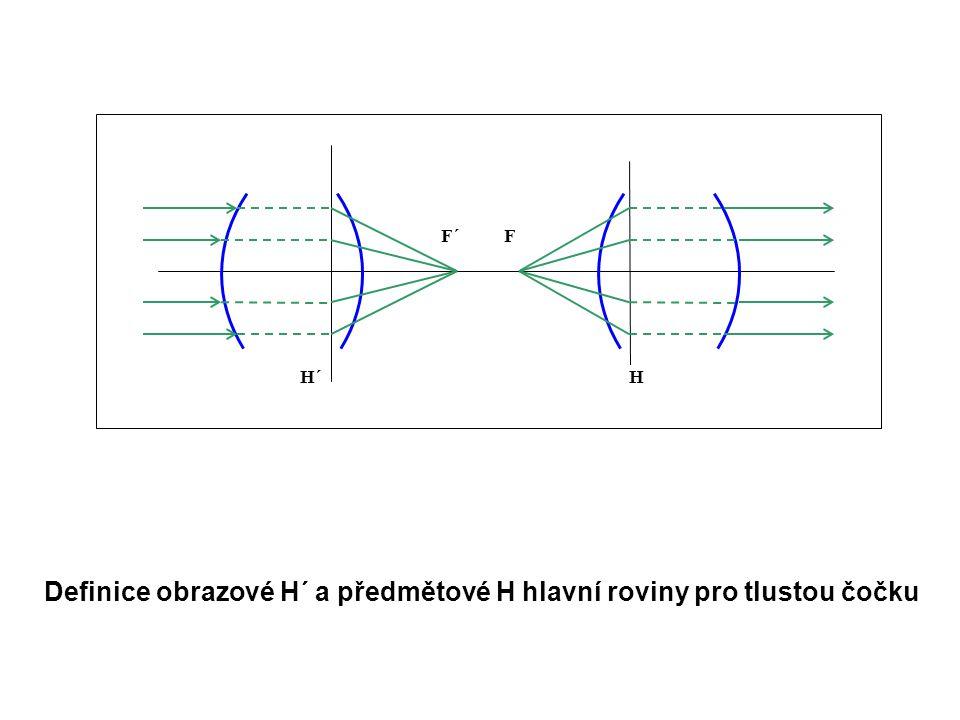 F´F HH´ Definice obrazové H´ a předmětové H hlavní roviny pro tlustou čočku