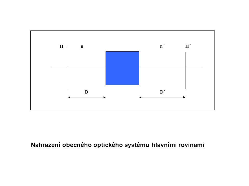 H´H D´D n´n Nahrazení obecného optického systému hlavními rovinami