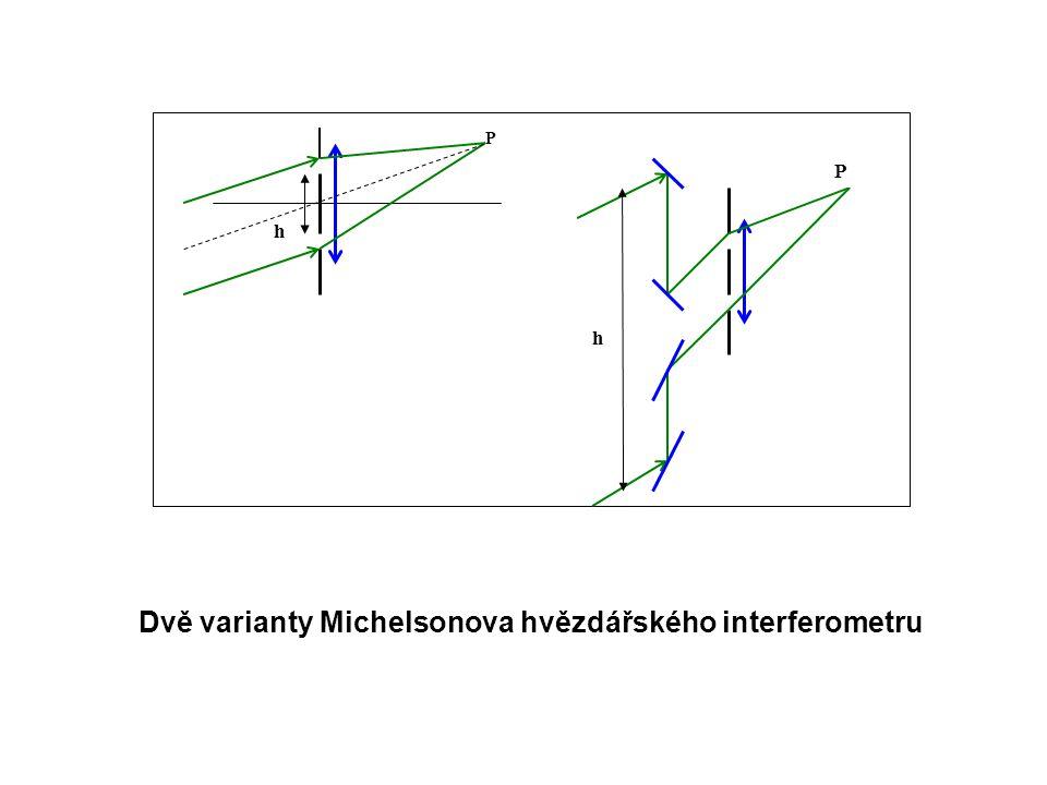 h h P P Dvě varianty Michelsonova hvězdářského interferometru