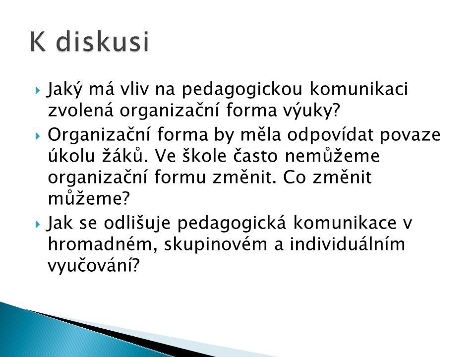  Jaký má vliv na pedagogickou komunikaci zvolená organizační forma výuky.