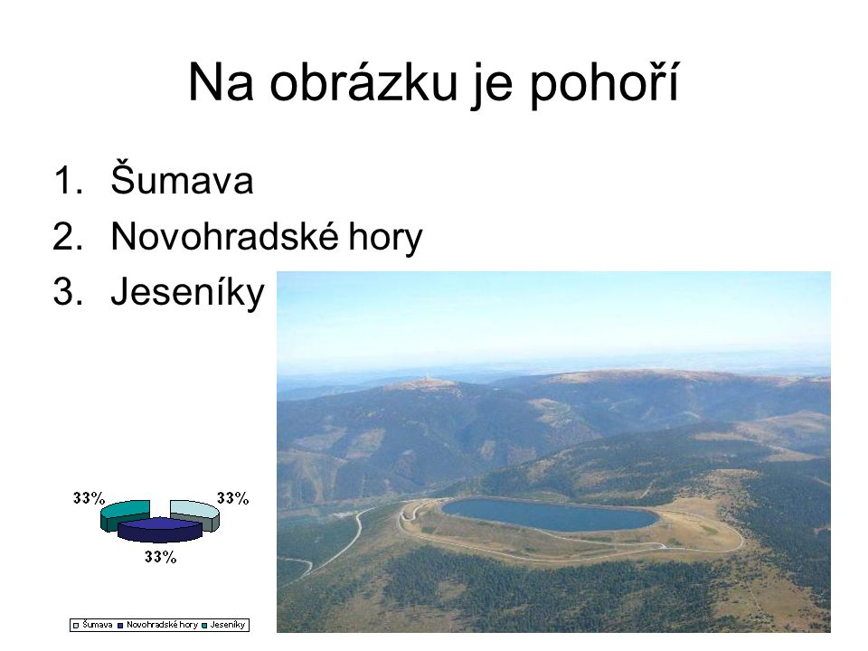 Na obrázku je pohoří 1.Šumava 2.Novohradské hory 3.Jeseníky