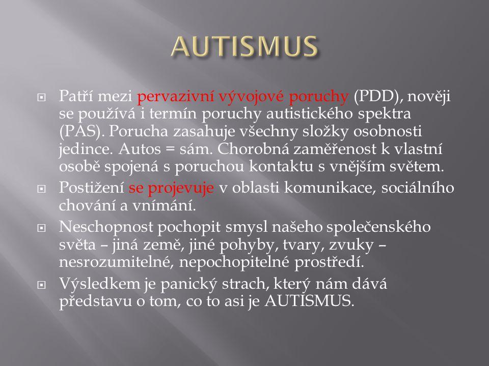  Patří mezi pervazivní vývojové poruchy (PDD), nověji se používá i termín poruchy autistického spektra (PAS).