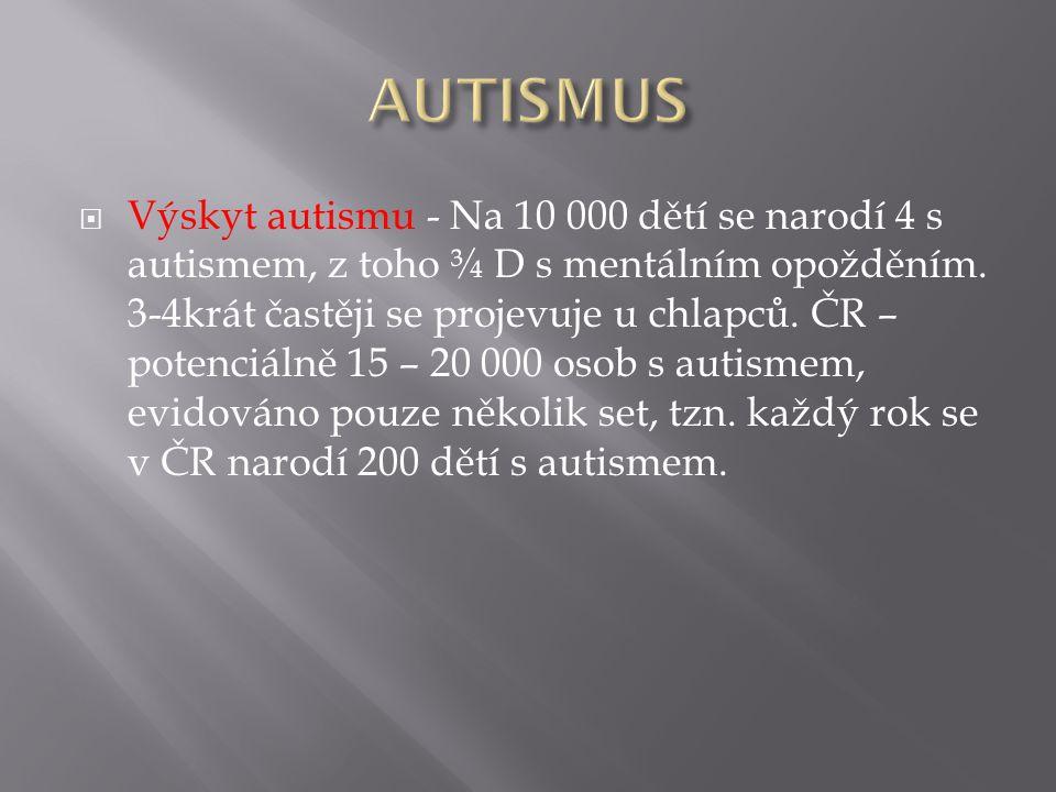  Výskyt autismu - Na 10 000 dětí se narodí 4 s autismem, z toho ¾ D s mentálním opožděním.
