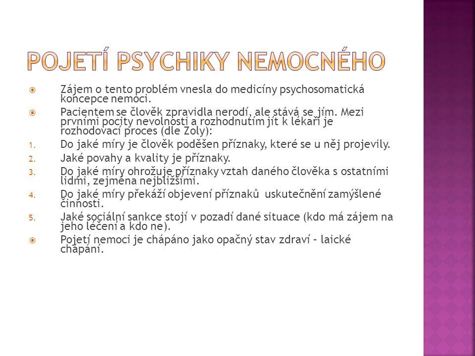  Zájem o tento problém vnesla do medicíny psychosomatická koncepce nemoci.  Pacientem se člověk zpravidla nerodí, ale stává se jím. Mezi prvními poc
