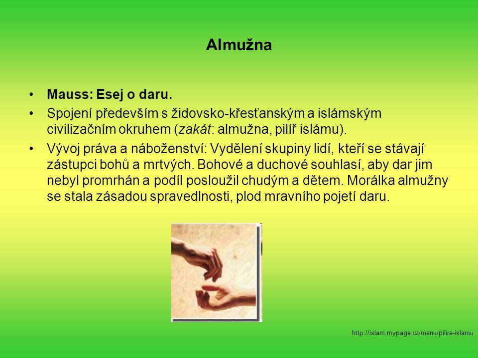 Almužna Mauss: Esej o daru. Spojení především s židovsko-křesťanským a islámským civilizačním okruhem (zakát: almužna, pilíř islámu). Vývoj práva a ná