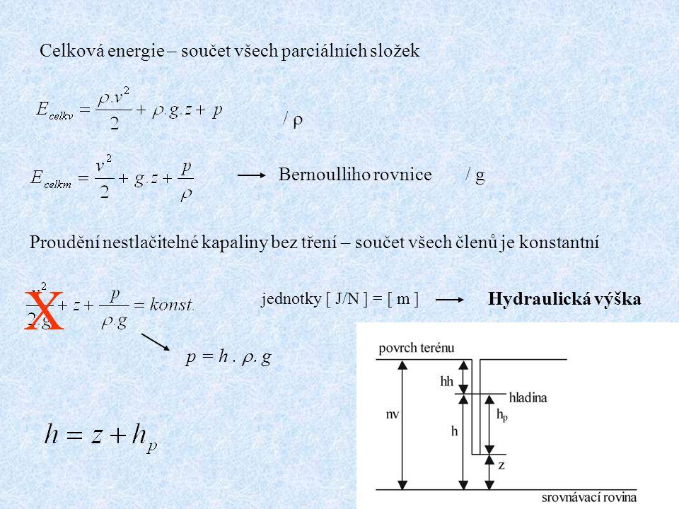 Celková energie – součet všech parciálních složek /  Bernoulliho rovnice Proudění nestlačitelné kapaliny bez tření – součet všech členů je konstantní