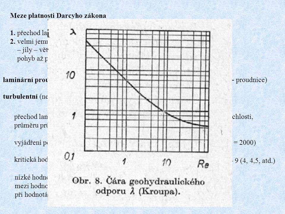 Meze platnosti Darcyho zákona 1. přechod laminárního do turbulentního proudění – vzájemný přechod 2. velmi jemnozrnné sedimenty (k f < 10 -7 m/s) – jí