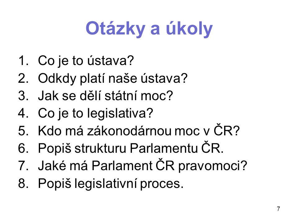 Otázky a úkoly 1.Co je to ústava.2.Odkdy platí naše ústava.
