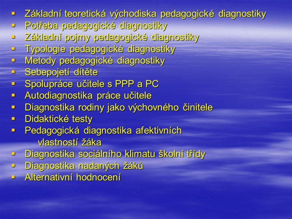 Pedagogická diagnostika  Teoretická východiska pedagogické diagnostiky – přístup edumetrický a kasuistický v procesu diagnostikování, provázanost PD s jinými vědními obory.