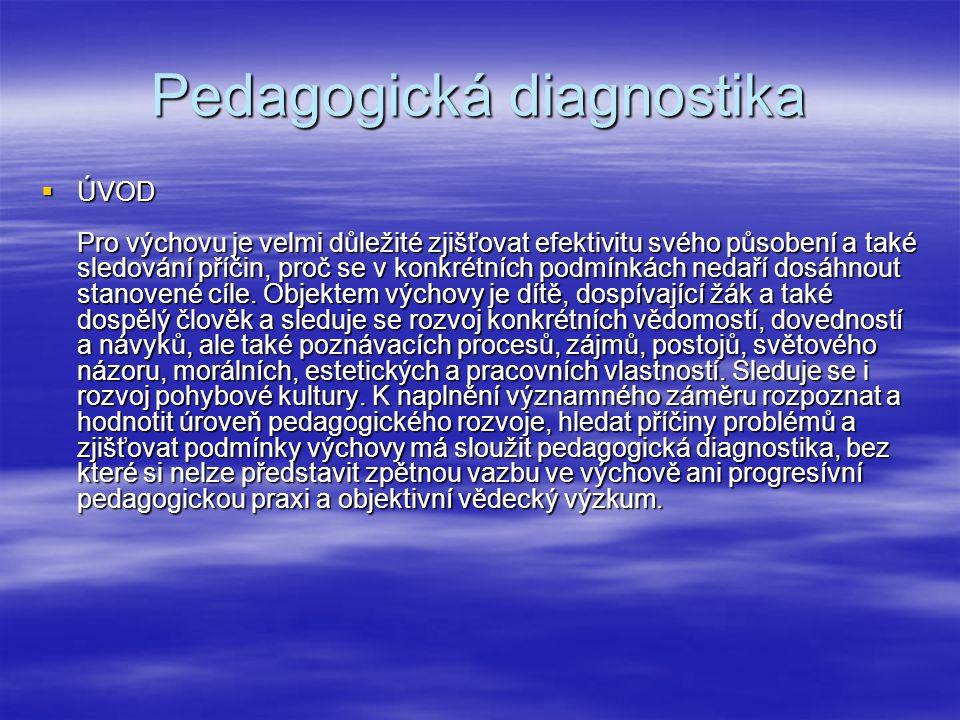 Specifické rysy a zaměření pedagogické diagnostiky v základní škole  Poznávání žáka musí být dlouhodobé  Nutná spolupráce s ostatními posuzovateli  Respektování etiologického hlediska  Hledisko individuálního přístupu