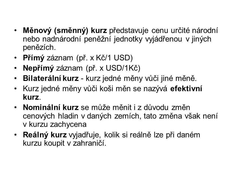 Měnový (směnný) kurz představuje cenu určité národní nebo nadnárodní peněžní jednotky vyjádřenou v jiných penězích. Přímý záznam (př. x Kč/1 USD) Nepř