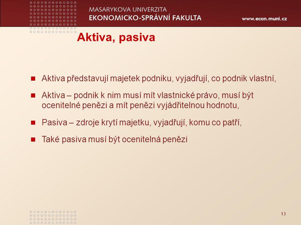 www.econ.muni.cz 13 Aktiva, pasiva Aktiva představují majetek podniku, vyjadřují, co podnik vlastní, Aktiva – podnik k nim musí mít vlastnické právo,