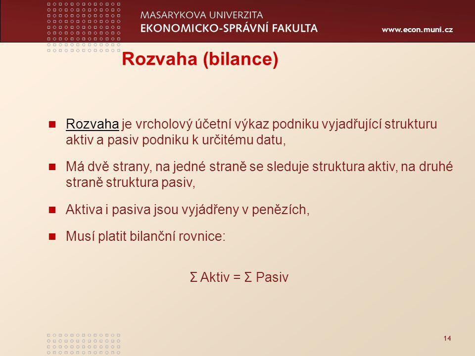 www.econ.muni.cz 14 Rozvaha (bilance) Rozvaha je vrcholový účetní výkaz podniku vyjadřující strukturu aktiv a pasiv podniku k určitému datu, Rozvaha M