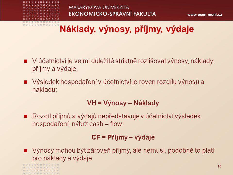 www.econ.muni.cz 16 Náklady, výnosy, příjmy, výdaje V účetnictví je velmi důležité striktně rozlišovat výnosy, náklady, příjmy a výdaje, Výsledek hosp