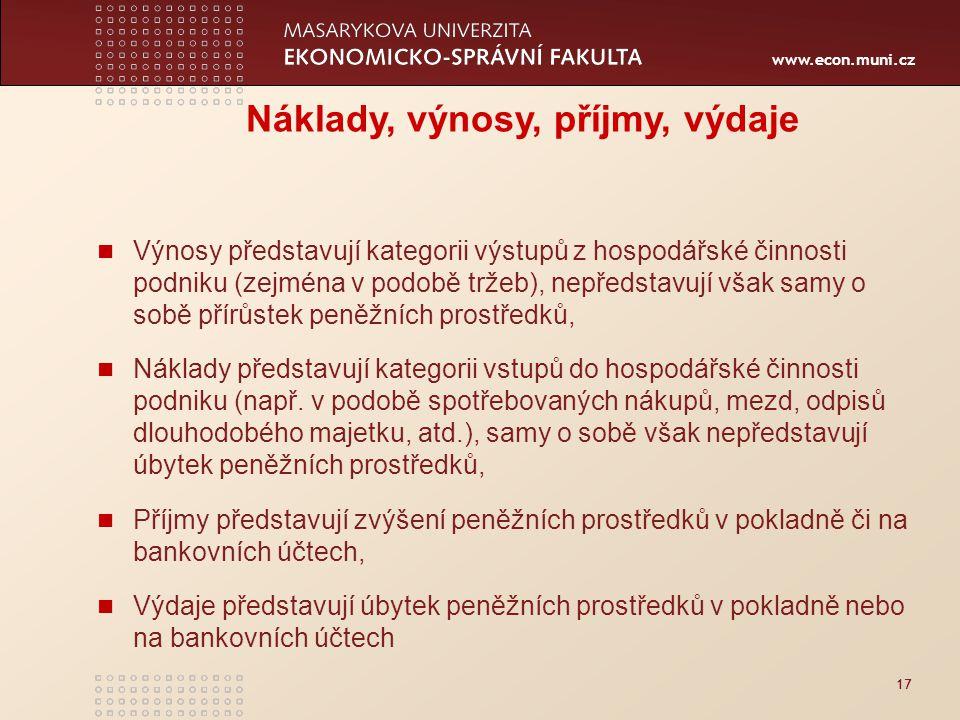 www.econ.muni.cz 17 Náklady, výnosy, příjmy, výdaje Výnosy představují kategorii výstupů z hospodářské činnosti podniku (zejména v podobě tržeb), nepř