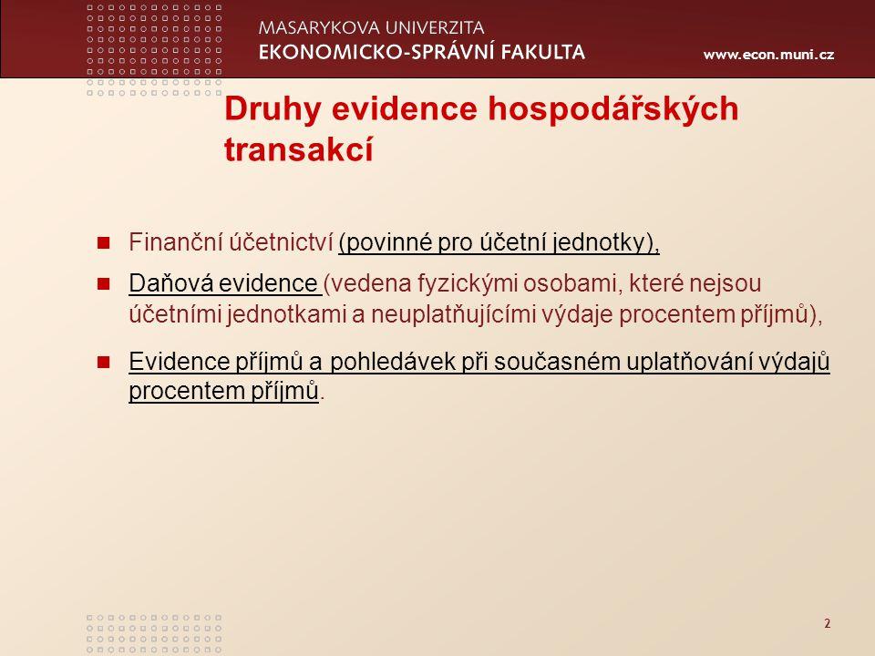 www.econ.muni.cz 2 Druhy evidence hospodářských transakcí Finanční účetnictví (povinné pro účetní jednotky),(povinné pro účetní jednotky), Daňová evid
