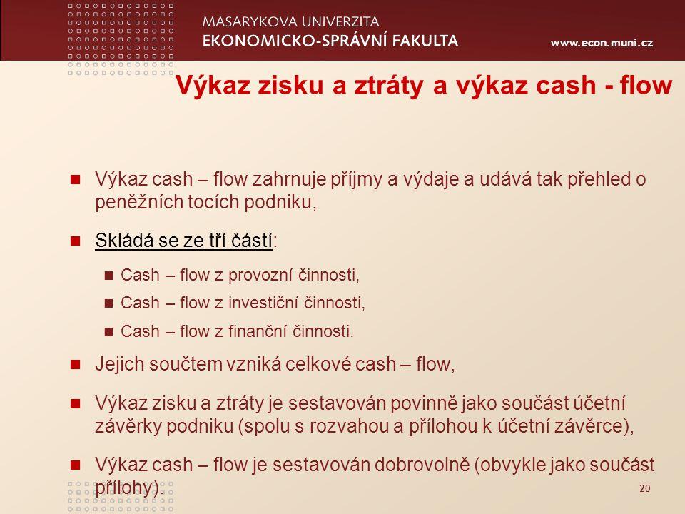 www.econ.muni.cz 20 Výkaz zisku a ztráty a výkaz cash - flow Výkaz cash – flow zahrnuje příjmy a výdaje a udává tak přehled o peněžních tocích podniku