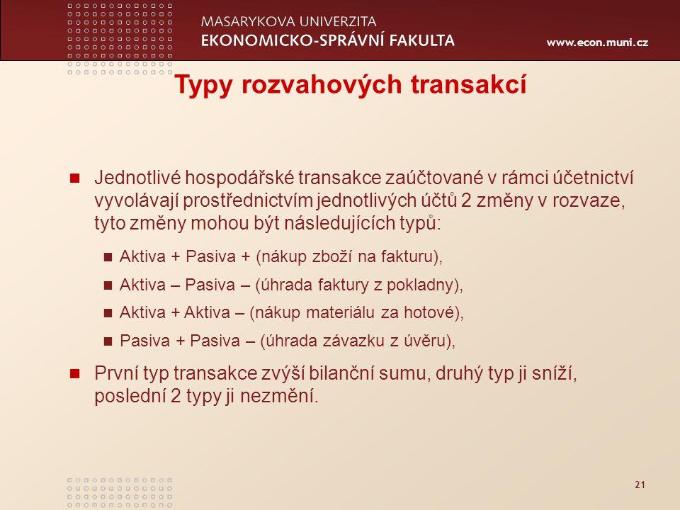 www.econ.muni.cz 21 Typy rozvahových transakcí Jednotlivé hospodářské transakce zaúčtované v rámci účetnictví vyvolávají prostřednictvím jednotlivých