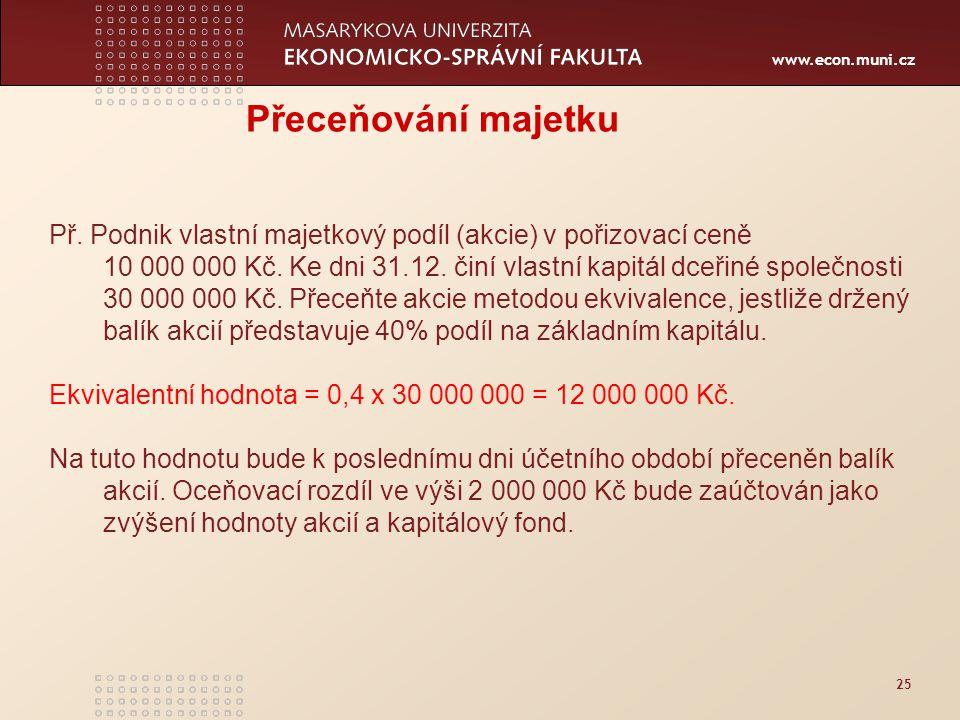 www.econ.muni.cz 25 Přeceňování majetku Př. Podnik vlastní majetkový podíl (akcie) v pořizovací ceně 10 000 000 Kč. Ke dni 31.12. činí vlastní kapitál