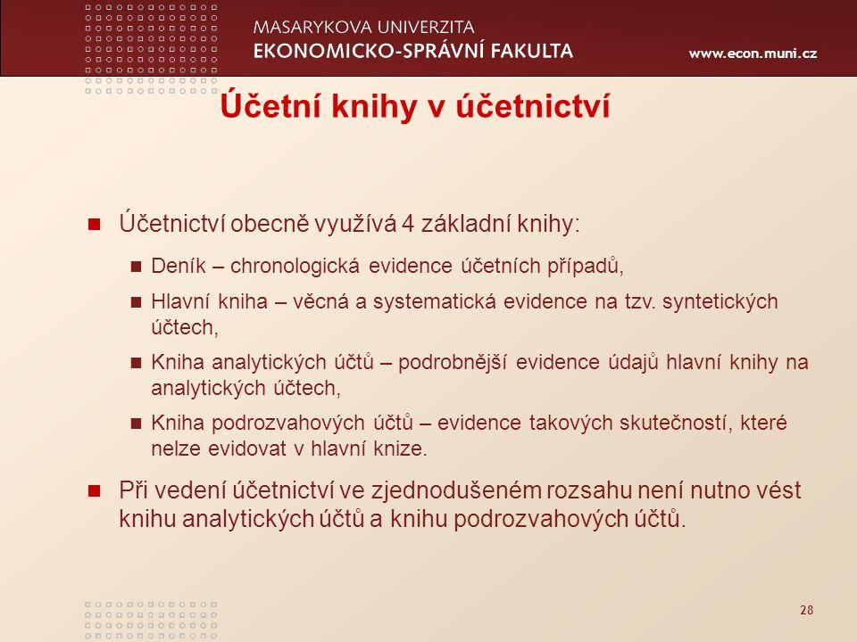 www.econ.muni.cz 28 Účetní knihy v účetnictví Účetnictví obecně využívá 4 základní knihy: Deník – chronologická evidence účetních případů, Hlavní knih