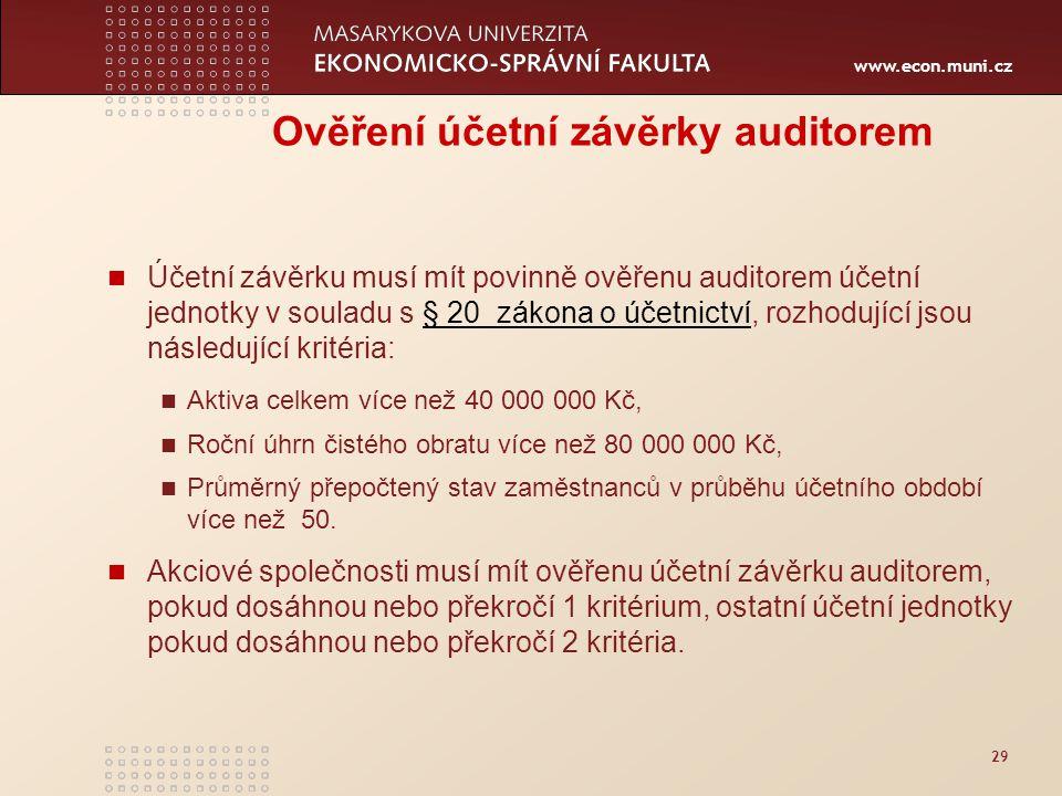 www.econ.muni.cz 29 Ověření účetní závěrky auditorem Účetní závěrku musí mít povinně ověřenu auditorem účetní jednotky v souladu s § 20 zákona o účetn