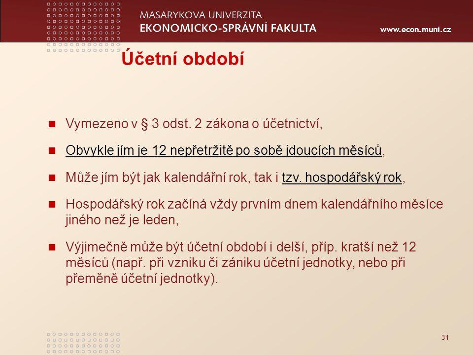 www.econ.muni.cz 31 Účetní období Vymezeno v § 3 odst. 2 zákona o účetnictví, Obvykle jím je 12 nepřetržitě po sobě jdoucích měsíců, Obvykle jím je 12