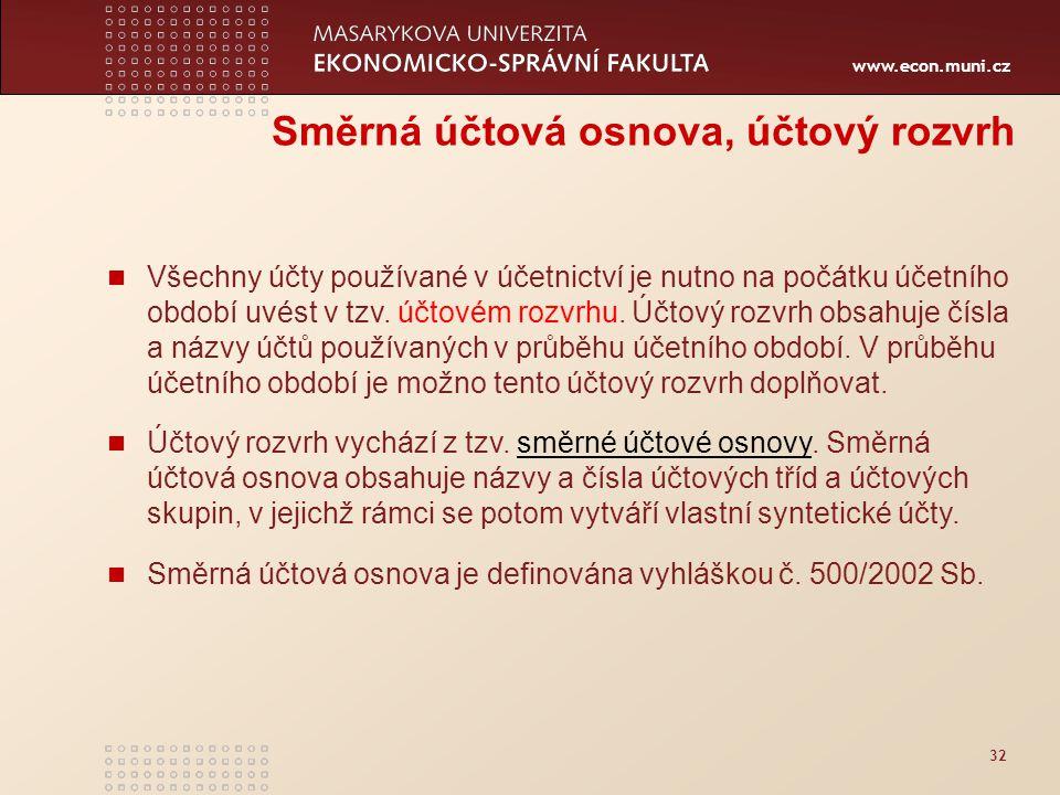 www.econ.muni.cz 32 Směrná účtová osnova, účtový rozvrh Všechny účty používané v účetnictví je nutno na počátku účetního období uvést v tzv. účtovém r