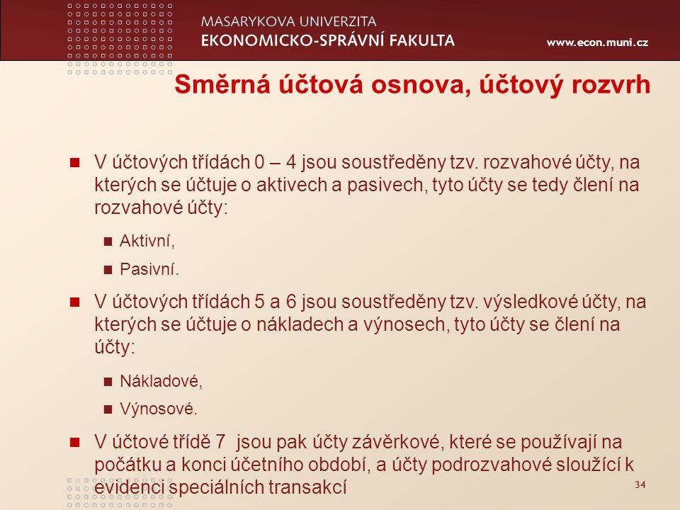 www.econ.muni.cz 34 Směrná účtová osnova, účtový rozvrh V účtových třídách 0 – 4 jsou soustředěny tzv. rozvahové účty, na kterých se účtuje o aktivech