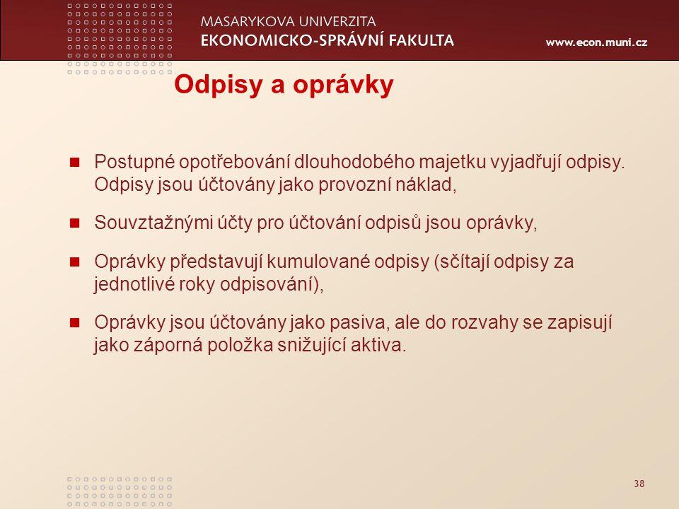 www.econ.muni.cz 38 Odpisy a oprávky Postupné opotřebování dlouhodobého majetku vyjadřují odpisy. Odpisy jsou účtovány jako provozní náklad, Souvztažn