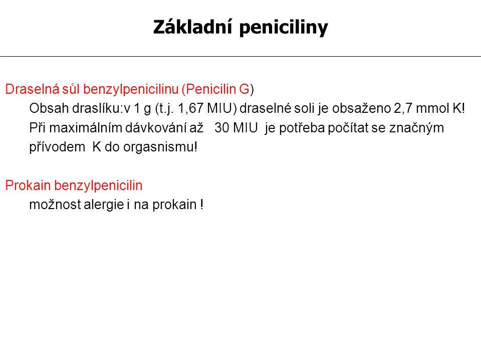 Penicilin Lékem volby u infekcí vyvolaných kmeny: Streptococcus pyogenes a další hemolytické streptokoky, pneumokoky, meningokoky, listerie, treponemy, gonokoky, difterie, anthrax, aktinomykózy Veliká terapeutická šíře: - léčba angíny 1,5 mil.j./den - erysipel 6-12 mil.j.