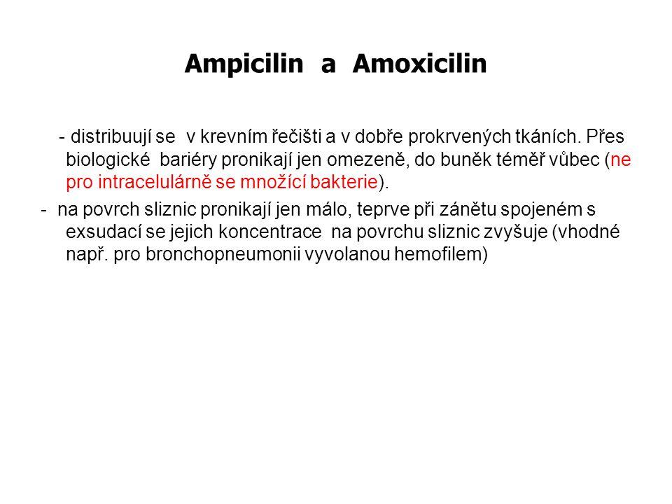 Aminopeniciliny -nežádoucí účinky GIT: 2-10%: nauzea, zvracení, průjem - post ATB kolitida alergie: méně pravých alergií než PEN, ale více exantémů (5% léčených) toxické:  dávce; obv.
