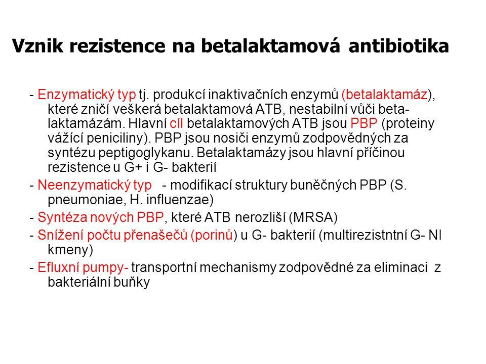 ß-laktamázy = nejčastější ochrana baktérií zákl.peniciliny + aminopeniciliny: snadná destrukce různými druhy ß- laktamáz ß-laktamázy konstitutivní: Serratia, Citrobacter, Enterobacter, Pseudomonas, Acinetobacter ß-laktamázy získané: S.aureus, E.coli a j.