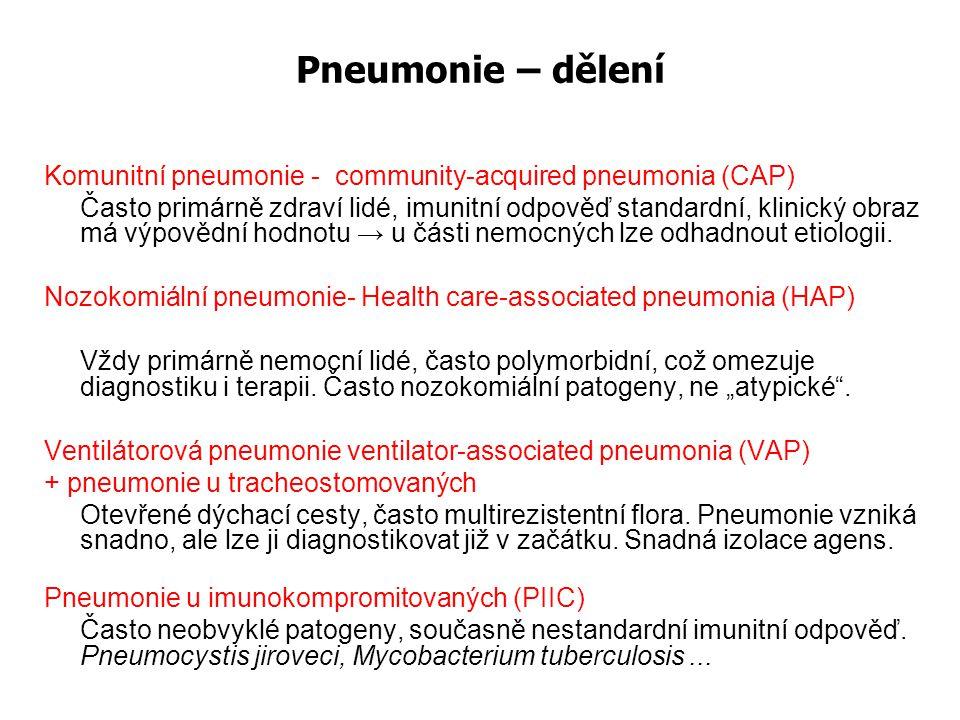 Možnosti mikrobiologické diagnostiky pneumonií - Odebrat materiál k mikroskopickému vyšetření (sputum, TA, ne jen výtěr z krku a nosu) a ke kultivaci - Odebrat krev na hemokultivaci (nejméně 2-3 HK) - Odebrat krev pro serologické vyšetření na atypické pneumonie - Odebrat moč pro stanovení Ag v moči (pneumokokový a legionelový Ag) Pozor.