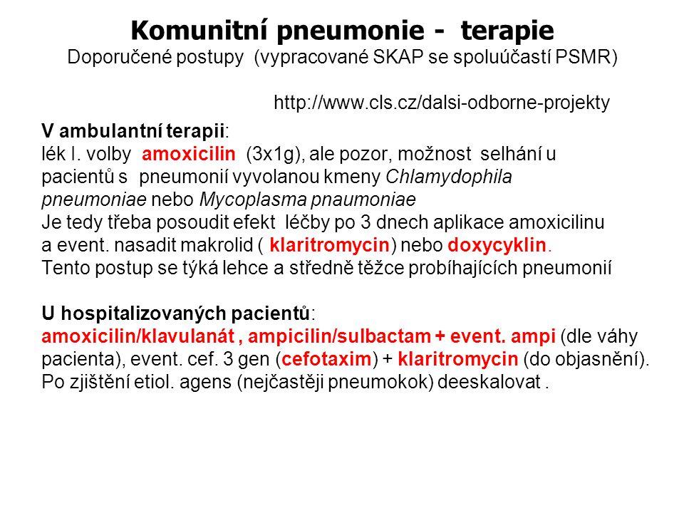 Komunitní pneumonie Streptococcus pneumoniae je nejčastějším vyvolavatelem komunitní bakteriální pneumonie v dospělém věku Dle studie EARSS patříme mezi země s nejnižším výskytem kmenů Streptococcus pneumoniae rezistentních k penicilinu Není tedy nutné používat v terapii respirační chinolony ani jiná záložní antibiotika Do objasnění etiolog.