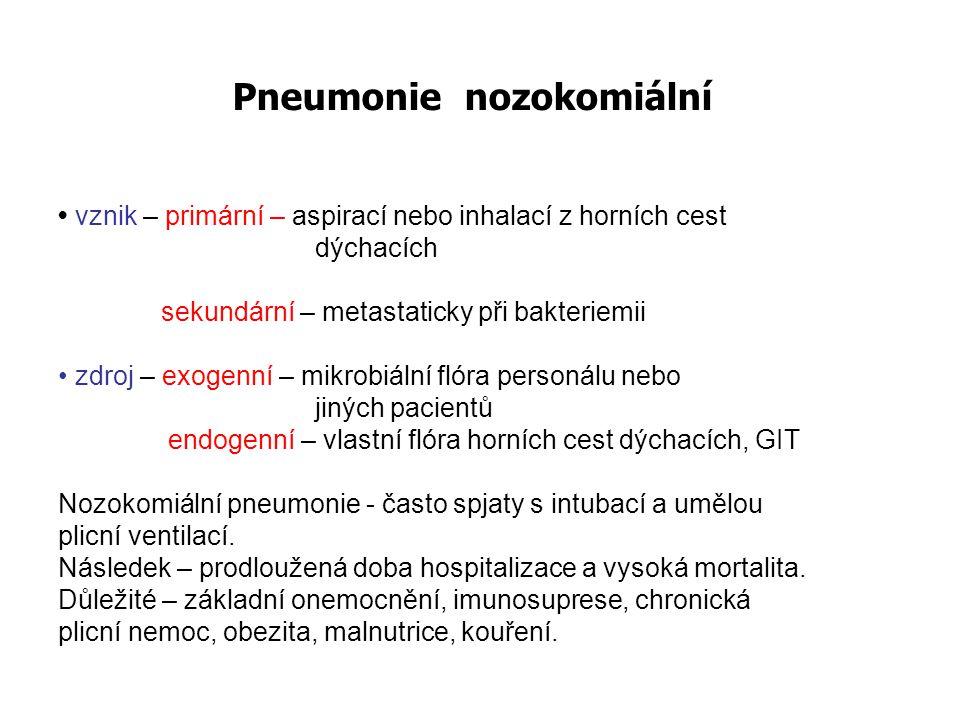 Pneumonie nozokomiální vznik – primární – aspirací nebo inhalací z horních cest dýchacích sekundární – metastaticky při bakteriemii zdroj – exogenní –