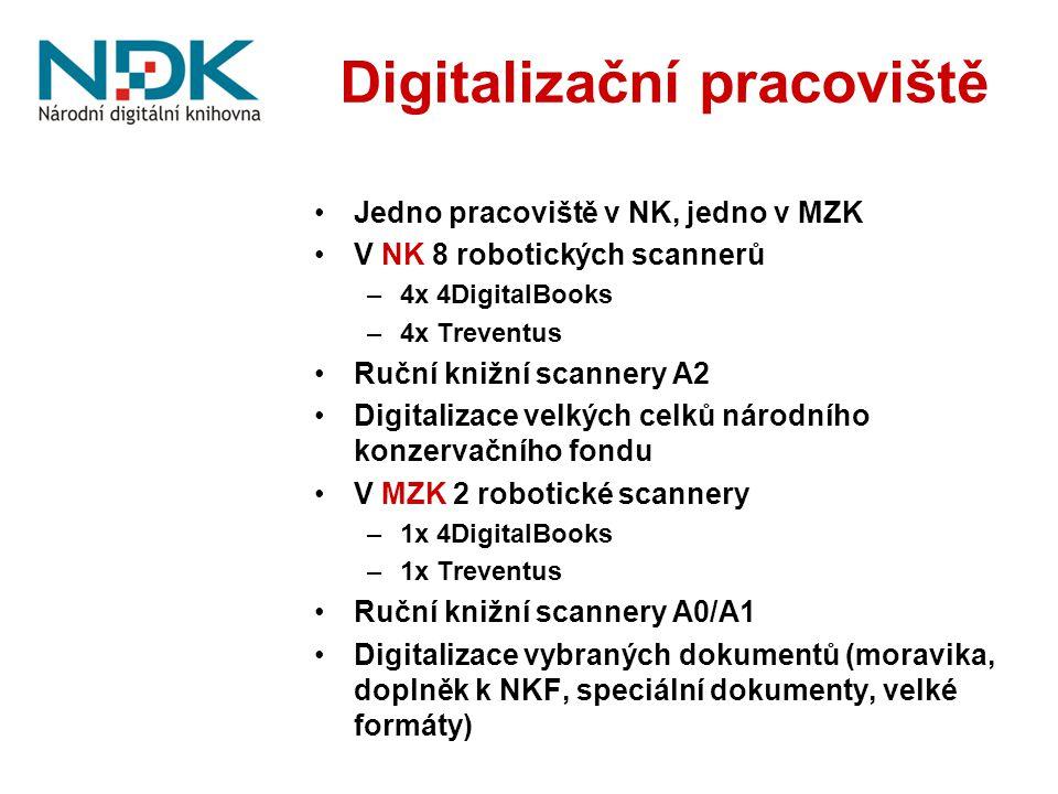 Digitalizační pracoviště Jedno pracoviště v NK, jedno v MZK V NK 8 robotických scannerů –4x 4DigitalBooks –4x Treventus Ruční knižní scannery A2 Digit