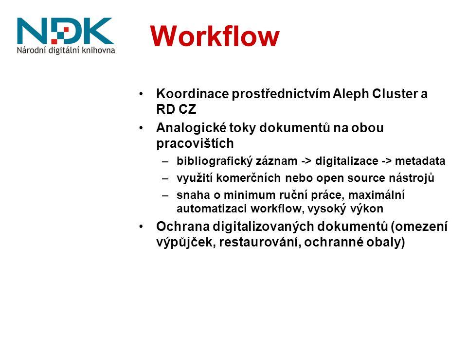 Workflow Koordinace prostřednictvím Aleph Cluster a RD CZ Analogické toky dokumentů na obou pracovištích –bibliografický záznam -> digitalizace -> metadata –využití komerčních nebo open source nástrojů –snaha o minimum ruční práce, maximální automatizaci workflow, vysoký výkon Ochrana digitalizovaných dokumentů (omezení výpůjček, restaurování, ochranné obaly)