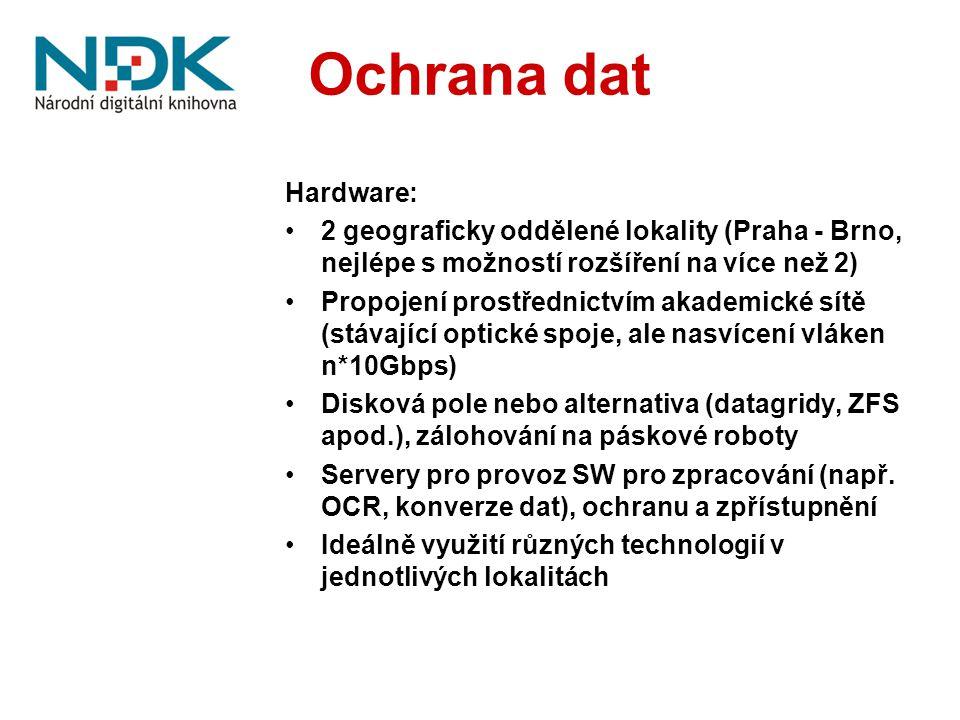 Ochrana dat Hardware: 2 geograficky oddělené lokality (Praha - Brno, nejlépe s možností rozšíření na více než 2) Propojení prostřednictvím akademické sítě (stávající optické spoje, ale nasvícení vláken n*10Gbps) Disková pole nebo alternativa (datagridy, ZFS apod.), zálohování na páskové roboty Servery pro provoz SW pro zpracování (např.