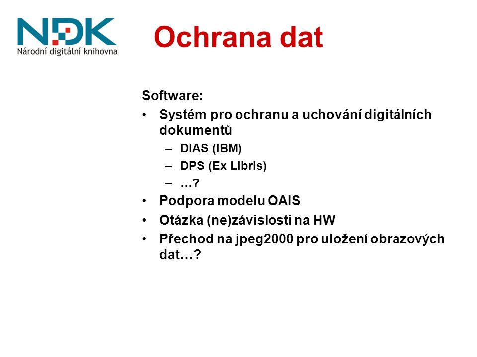 Ochrana dat Software: Systém pro ochranu a uchování digitálních dokumentů –DIAS (IBM) –DPS (Ex Libris) –…? Podpora modelu OAIS Otázka (ne)závislosti n