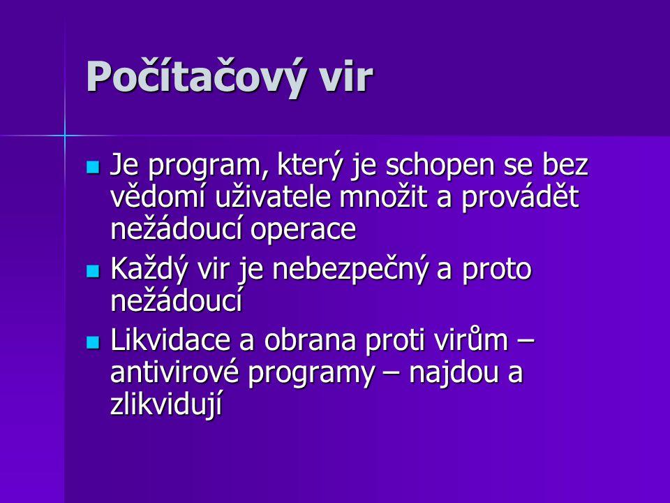 Počítačový vir Je program, který je schopen se bez vědomí uživatele množit a provádět nežádoucí operace Je program, který je schopen se bez vědomí uži