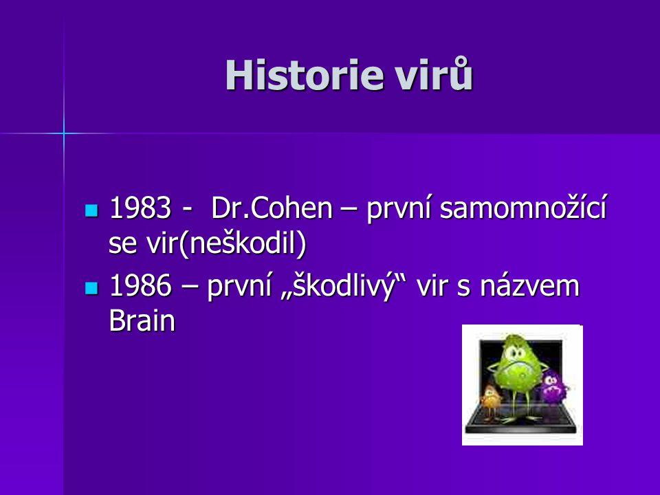"""Historie virů 1983 - Dr.Cohen – první samomnožící se vir(neškodil) 1983 - Dr.Cohen – první samomnožící se vir(neškodil) 1986 – první """"škodlivý"""" vir s"""