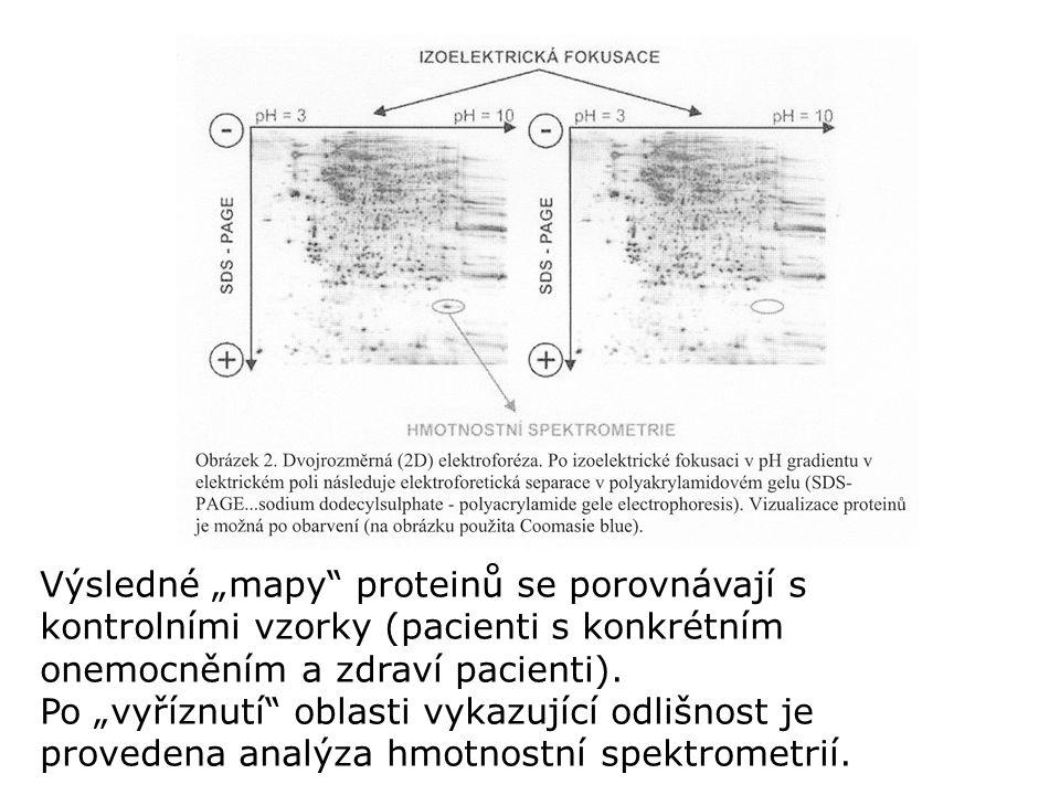 """Výsledné """"mapy"""" proteinů se porovnávají s kontrolními vzorky (pacienti s konkrétním onemocněním a zdraví pacienti). Po """"vyříznutí"""" oblasti vykazující"""