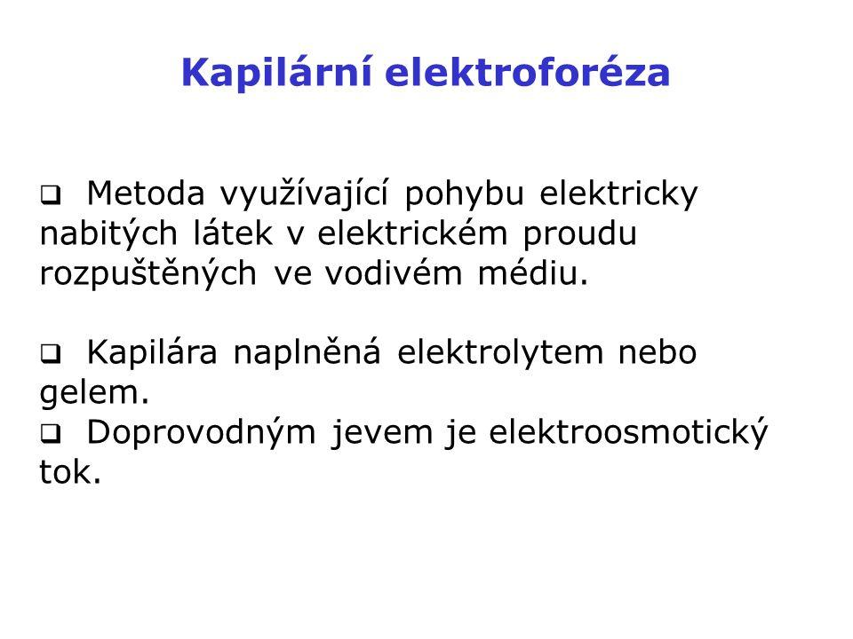 Kapilární elektroforéza  Metoda využívající pohybu elektricky nabitých látek v elektrickém proudu rozpuštěných ve vodivém médiu.  Kapilára naplněná