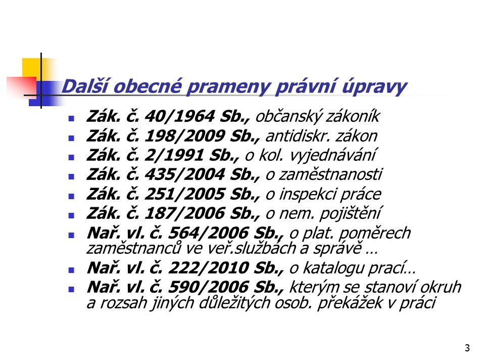 3 Další obecné prameny právní úpravy Zák. č. 40/1964 Sb., občanský zákoník Zák.