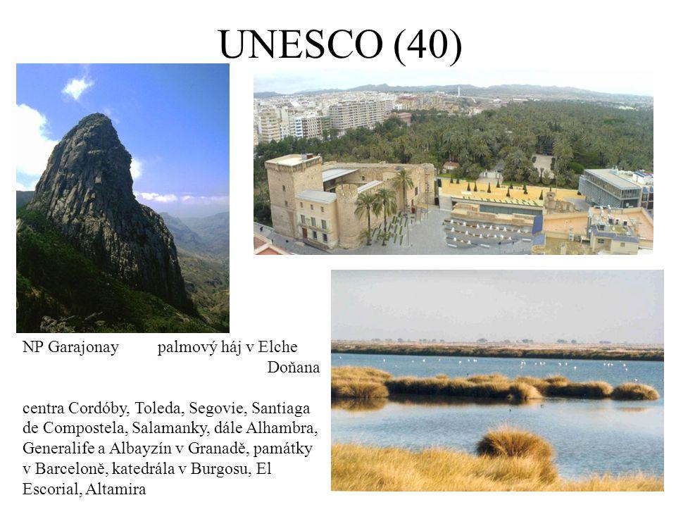 UNESCO (40) NP Garajonaypalmový háj v Elche Doňana centra Cordóby, Toleda, Segovie, Santiaga de Compostela, Salamanky, dále Alhambra, Generalife a Albayzín v Granadě, památky v Barceloně, katedrála v Burgosu, El Escorial, Altamira