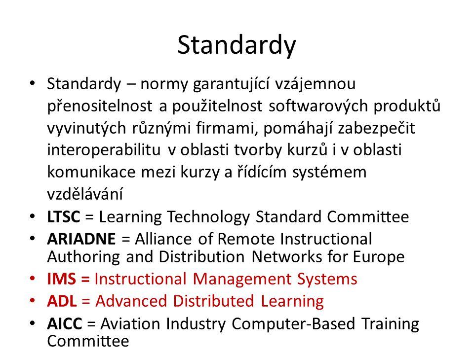 Standardy Standardy – normy garantující vzájemnou přenositelnost a použitelnost softwarových produktů vyvinutých různými firmami, pomáhají zabezpečit interoperabilitu v oblasti tvorby kurzů i v oblasti komunikace mezi kurzy a řídícím systémem vzdělávání LTSC = Learning Technology Standard Committee ARIADNE = Alliance of Remote Instructional Authoring and Distribution Networks for Europe IMS = Instructional Management Systems ADL = Advanced Distributed Learning AICC = Aviation Industry Computer-Based Training Committee