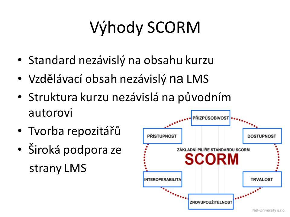 Výhody SCORM Standard nezávislý na obsahu kurzu Vzdělávací obsah nezávislý na LMS Struktura kurzu nezávislá na původním autorovi Tvorba repozitářů Široká podpora ze strany LMS