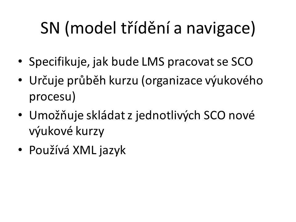 Specifikuje, jak bude LMS pracovat se SCO Určuje průběh kurzu (organizace výukového procesu) Umožňuje skládat z jednotlivých SCO nové výukové kurzy Používá XML jazyk