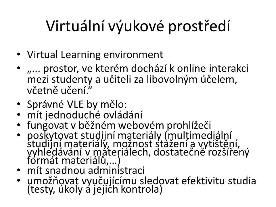 """Virtuální výukové prostředí Virtual Learning environment """"..."""