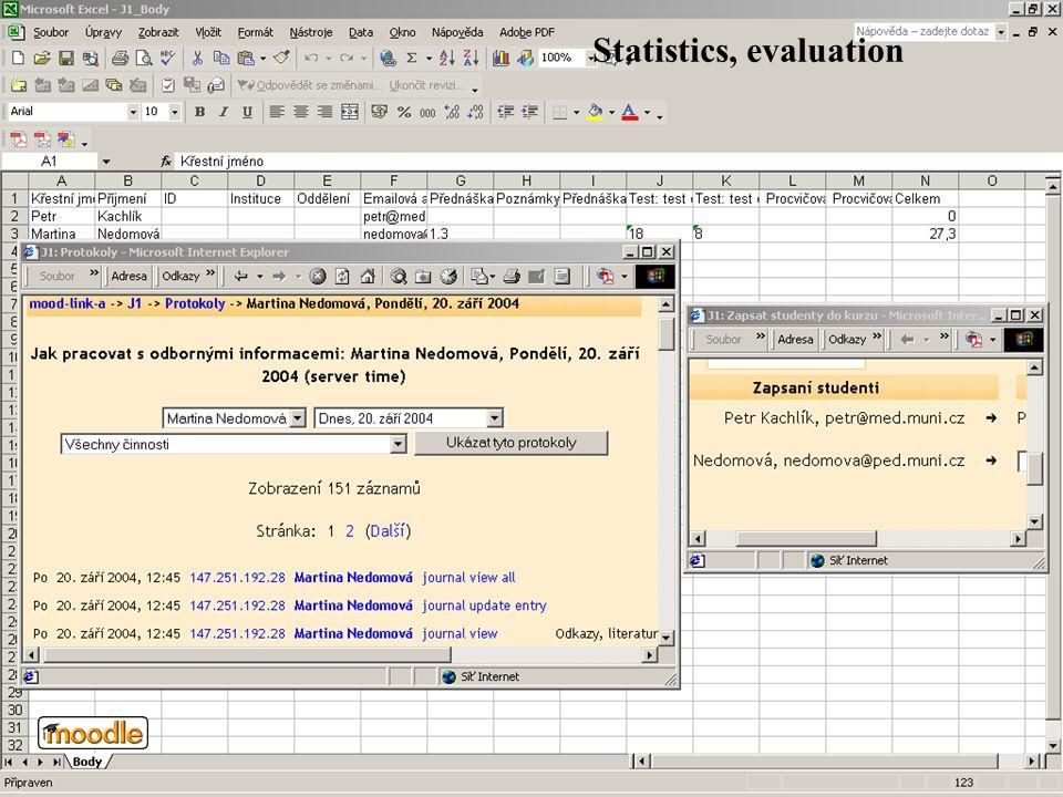 Statistics, evaluation